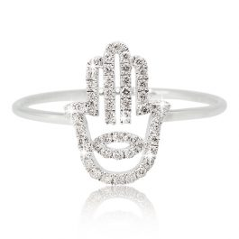 Hamsa diamonds ring