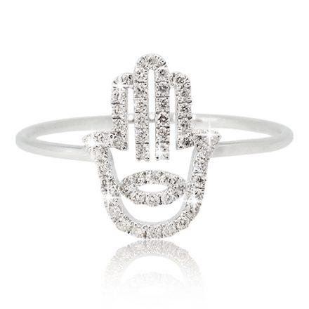 Hamsa diamonds ring